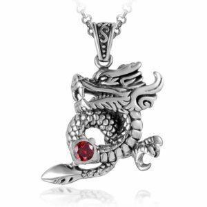 Dragon Necklace Red Gem Stone Steel Zirconium