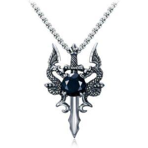Dragon Necklace Sword Cubic Zirconium
