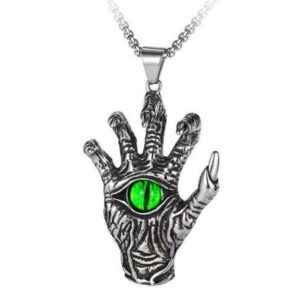 Dragon Necklace Skeleton Hand Stainless Steel