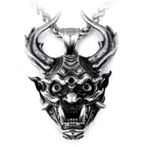 Dragon Necklace Oni Mask Stainless Steel