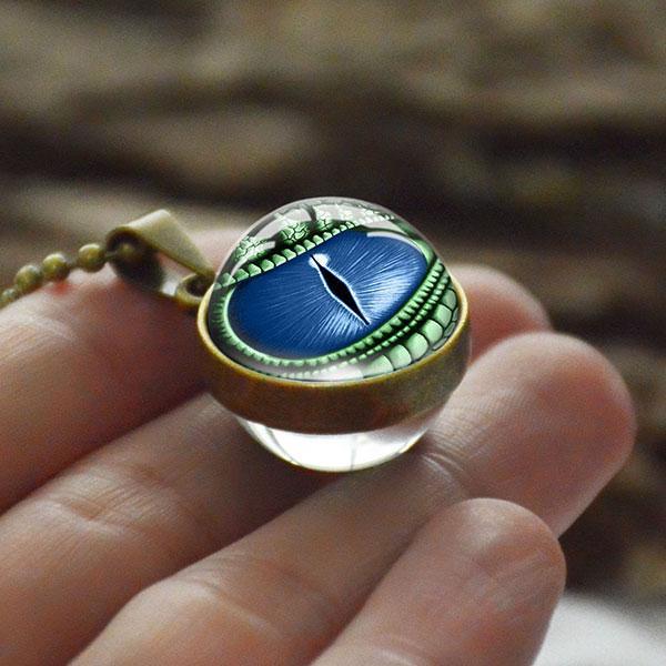 Collier Oeil De Dragon Bleu