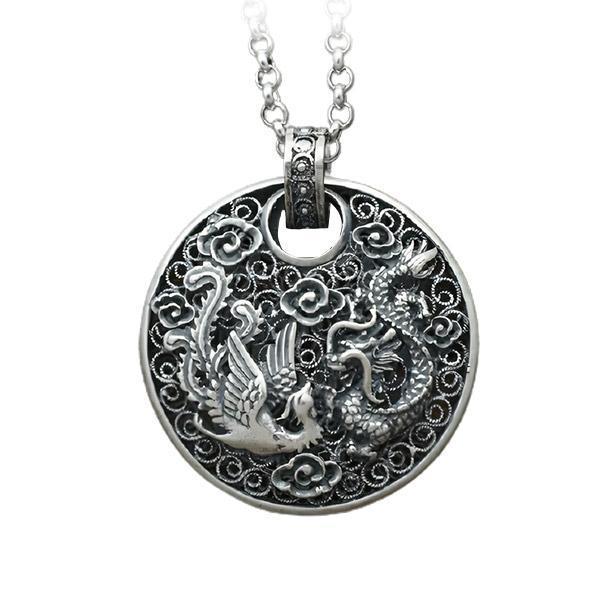 Dragon Necklace Phoenix Pure Silver 990