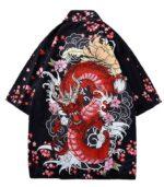 Red Dragon Style Japanese Haori Kimono