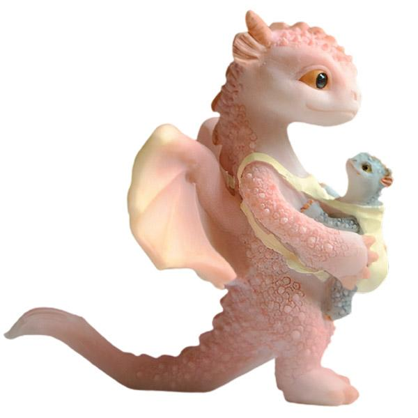 Dragon Figure Pink Resin Mother and Son