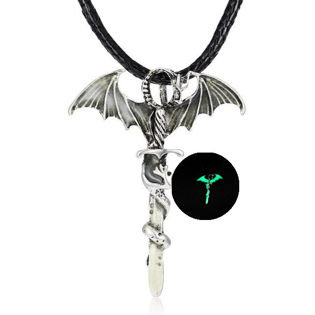 Glow in the Dark Dragon Sword Necklace Green