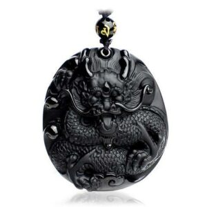 Black Obsidian Dragon Necklace