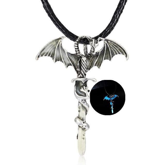 Glow in the Dark Dragon Sword Necklace Blue