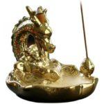 Golden Japanese Dragon Incense Burner