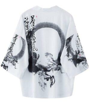 Dragon Kimono White Magnificent Polyester