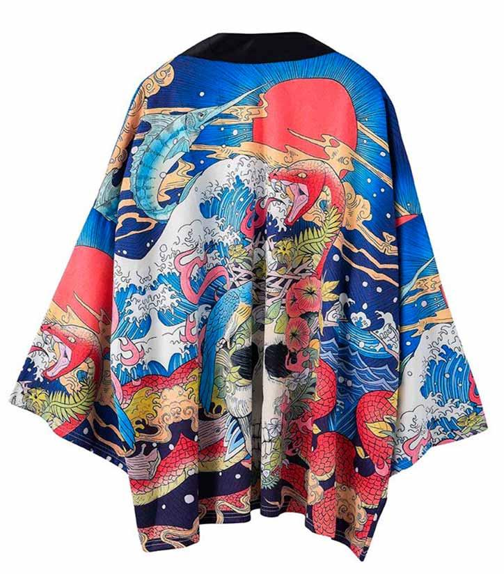 Printed Japanese Style Dragon Kimono