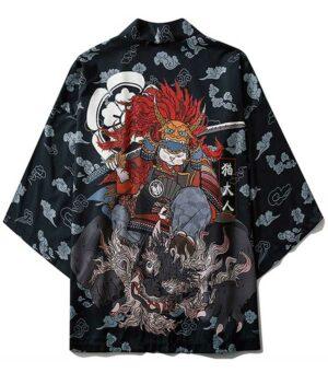 Dragon Kimono Neko Samurai Polyester