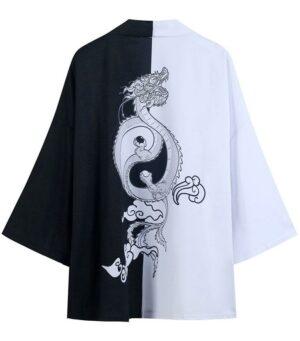 Dragon Kimono Black and White Yin Yang