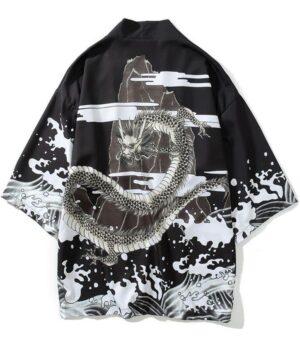 Black Dragon Kimono Haori Japanese Style