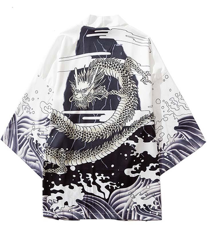 Wave Style Dragon Japanese Kimono