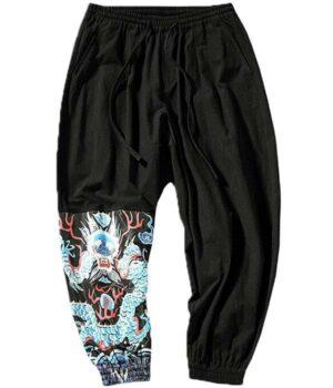 Dragon Pants Blue Cotton Polyester