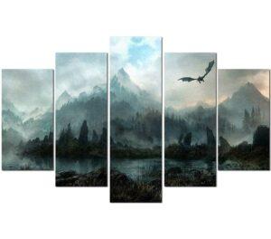 Skyrim Dragon Painting Wall Art