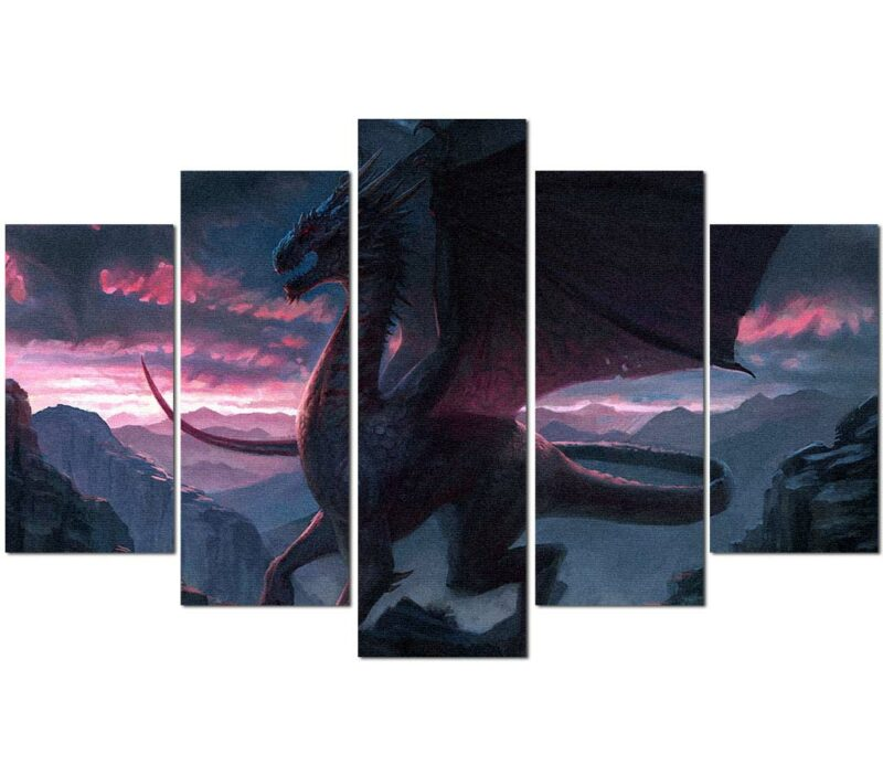 Dragon Painting Sun Dawn Wall Art
