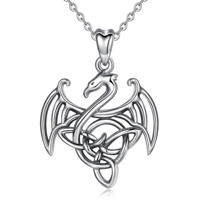 Necklace Dragon Celtic Silver