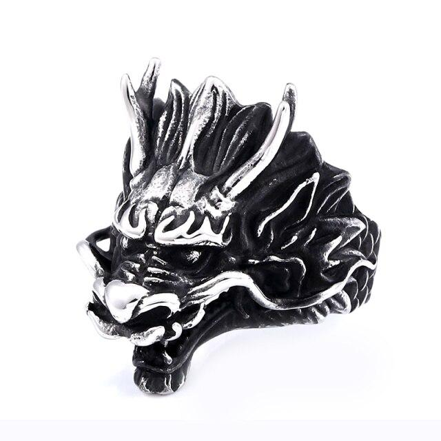Black Chinese Dragon Head Ring