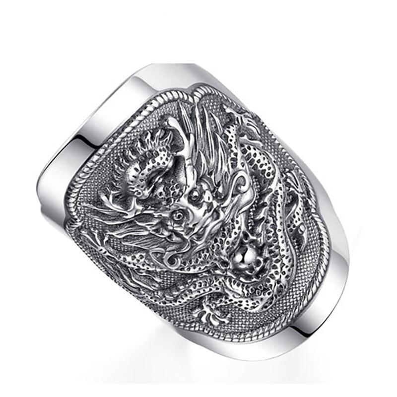 Knight Dragon Ring (Silver)