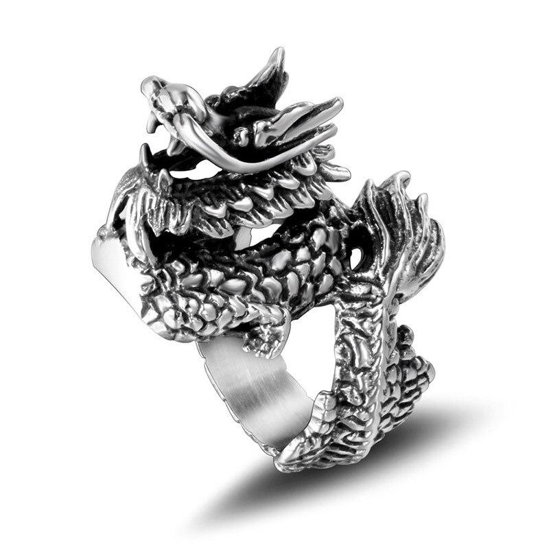 Stainless Steel Dragon Ring Gothic Jewelry