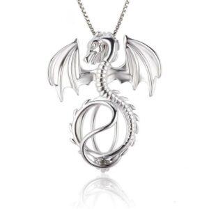 Silver Dragon Pendant Chain Necklace