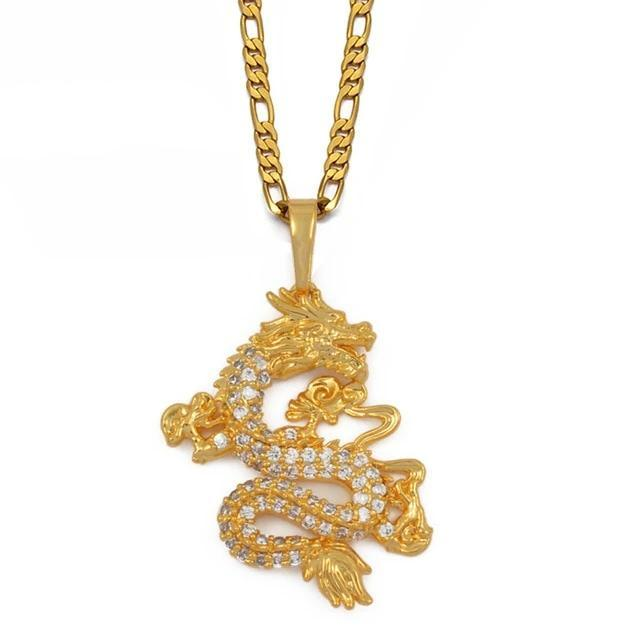 Chinese Dragon Necklace Gold