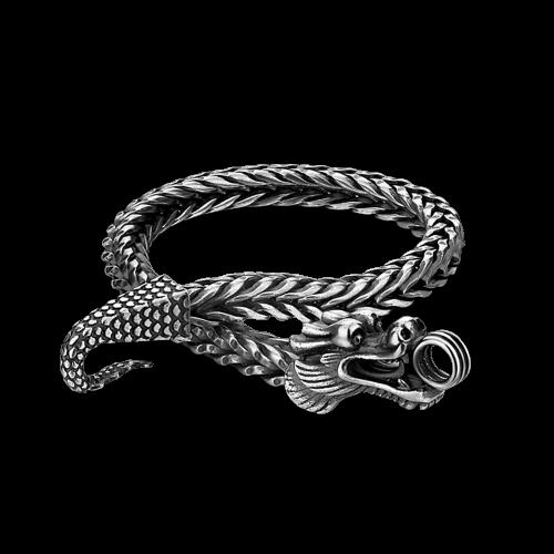 Double Dragon Scale Bracelet Black