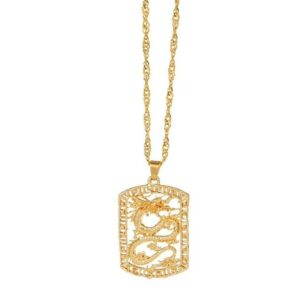 Gold Dragon Heart Necklace