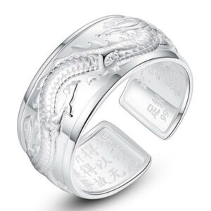 Engraved Sterling Silver Dragon Ring