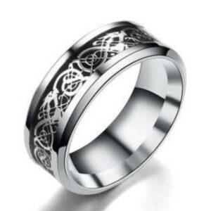 Silver Celtic Dragon Ring