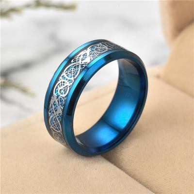Blue Dragon Ring with Celtic Patterns