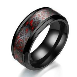 Dragon Ring Red With Celtic Patterns