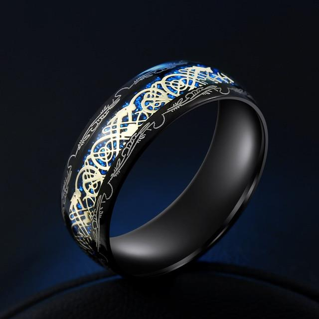 Tungsten Gold and Blue Second Dragon Ring