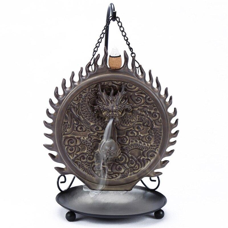 Hanging Dragon Backflow Incense Burner Ceramic