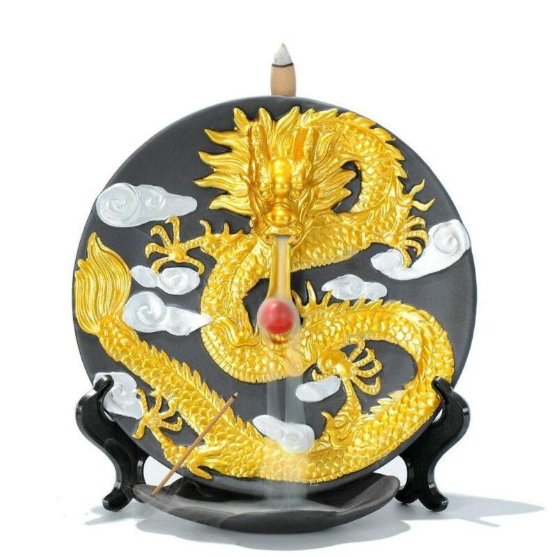 Golden Ceramic Dragon Incense Burner