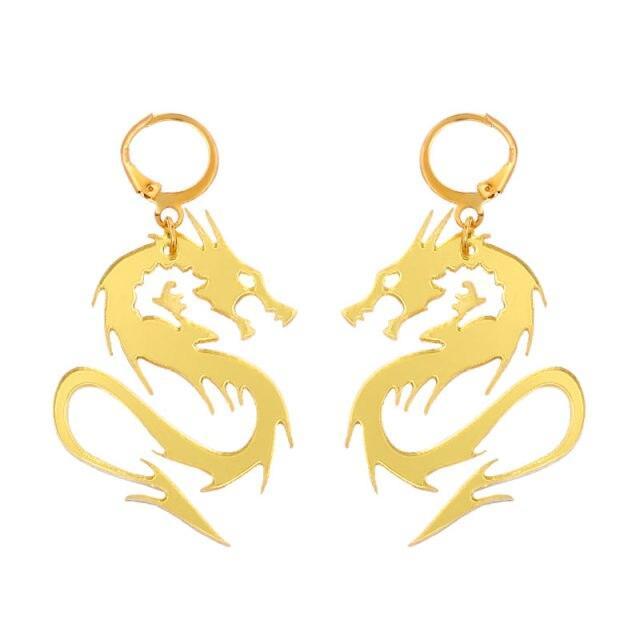 zinc dragon earrings