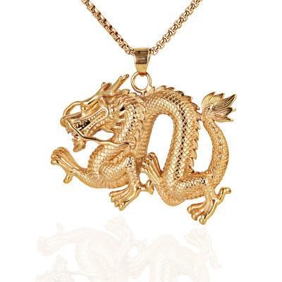Gold Dragon Necklace For Men