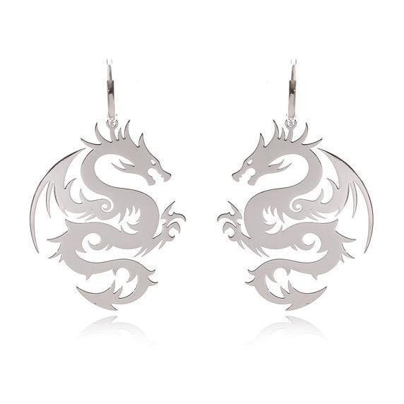 Dragon Earrings Silver Steel
