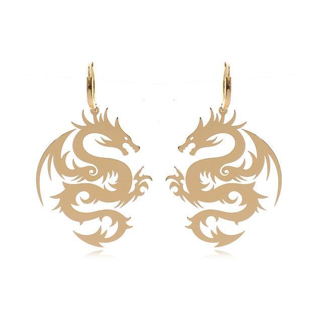 Gold Dragon Earrings