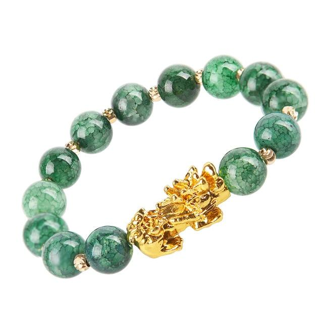 Green Agate Bracelet With Dragon Sign