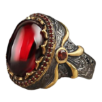 Red Dragon Eye Scale Ring Gold