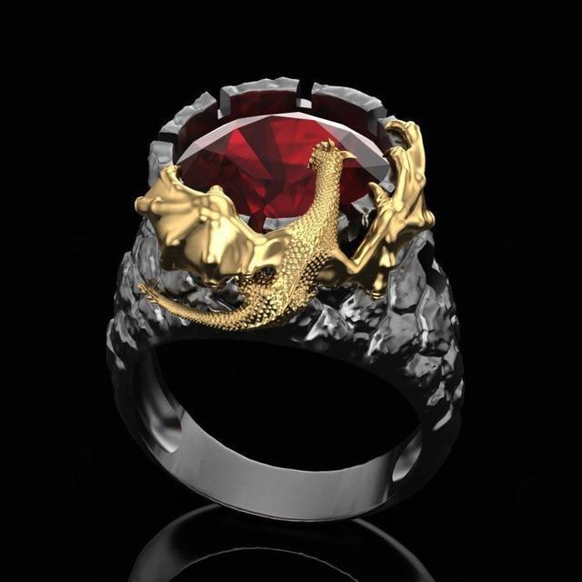 Chinese Gold Dragon Ring Firestone