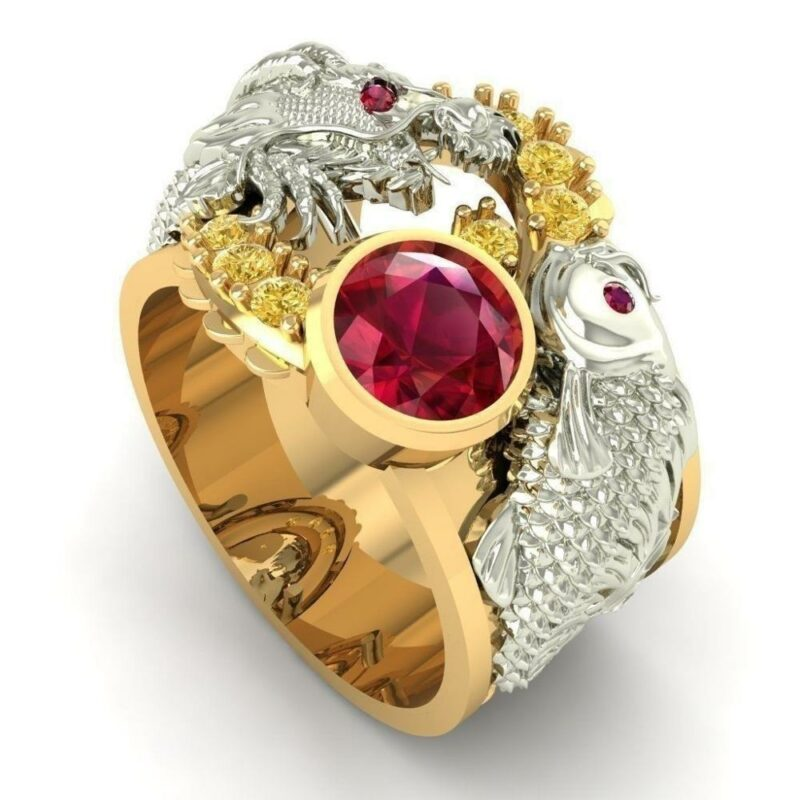 Red Dragon Ring Gold