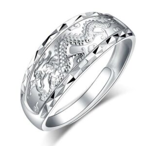 Dragon Engraved Silver Ring