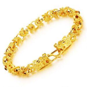 Gold Dragon Head Bracelet