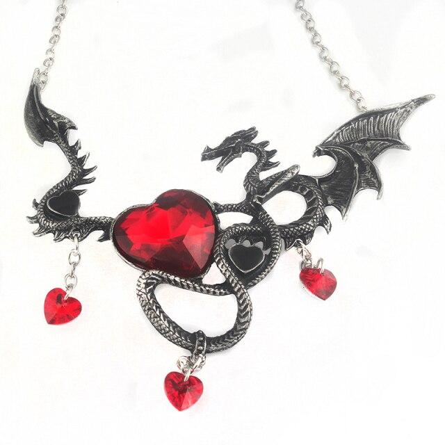 Dragon Heart Necklace Red