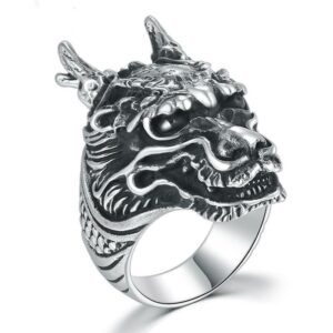 Gothic Solid 925 Sterling Silver Dragon Ring