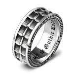 Gothic Dragon Scale Ring Steel