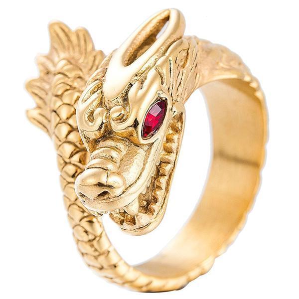 Stainless steel Golden Dragon Ring